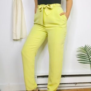 80s Due Per Due Silk High Rise Chartreuse Trousers